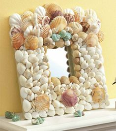 Make a seashell frame or seashell mirror with supplies from Joann.com