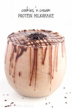 Cookies 'n Cream Protein Milkshake -- this Greek Yogurt smoothie is a winner. Just 6 ingredients & 20g of protein!