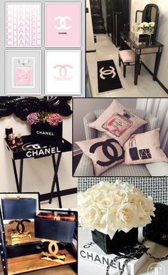 Find the Como fazer decoração inspirada na Chanel: at There's just something about designer goods – they're high-quality status items. Chanel Decoration, Decoration Chic, Glamour Decor, Bedroom Themes, Girls Bedroom, Bedroom Decor, Chanel Room, Chanel Bedding, Chanel Brand