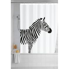 Love this quirky zebra shower curtain, what a great design!