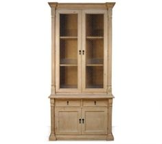 LB-001-0901 Sardina Bookcase With Doors, 2 Drawers and Bottom Compartment in Natural Wood Finish