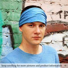Men's Wide Headband Blue Head Wrap Headband Adult Headwrap Mens Fitness Hair Band Blue Yoga Hair Scarf (#1203) S M L X by RandomlySpecific on Etsy https://www.etsy.com/listing/205150525/mens-wide-headband-blue-head-wrap