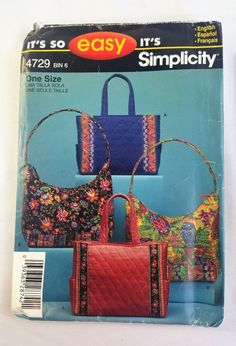 Simplicity Its so easy 4729 One Size Bag Purse Uncut 2004 #Simplicity