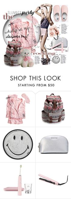 """""""Sleep on It! Slumber Party Style"""" by betiboop8 ❤ liked on Polyvore featuring Pijama, Victoria's Secret, Aéropostale, Anya Hindmarch, MICHAEL Michael Kors, Philips Sonicare, GHD, Forever 21 and slumberparty"""