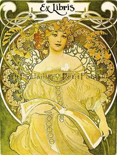 ≡ Bookplate Estate ≡ vintage ex libris labels︱artful book plates - Alphonse Mucha's 'Reverie', bookplate