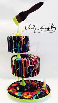 Paint splatter neon cake Gravity
