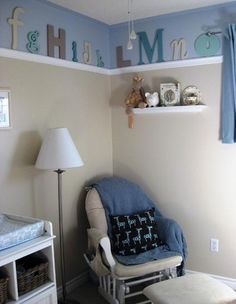 instead of alphabet wall mural, letters above molding