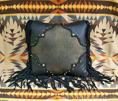 Black and Gold Pillow with Stingray Panel