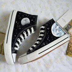 5362c960dfa Diy Grunge emo gothic sneakers moon stars Diy Converse