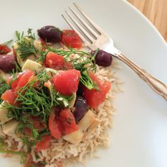 The Greek Dinner Plate on this weeks menu. Olives, Artichokes, Tomatoes, Herbs and Rice. #PlantBased deliciousness!