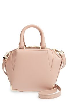 This Alexander Wang satchel in smooth, blush-hued leather epitomizes modern glamour, with goldtone hardware to accentuate the minimalist silhouette.