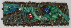 Bead Embroidered Cuff Bracelet Azure Tones and by ReneGibson