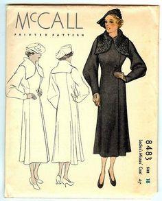 McCall 8483   1930s Ladies' & Misses' Coat