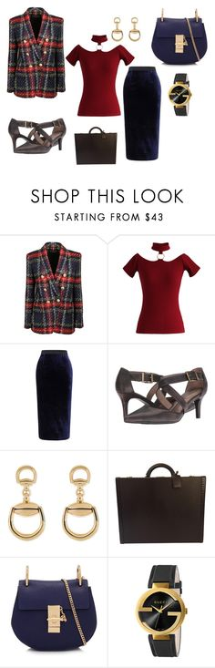 """Meeting The Heads"" by dlc18424 ❤ liked on Polyvore featuring Balmain, Chicwish, Roland Mouret, LifeStride, Gucci, Louis Vuitton and Chloé"