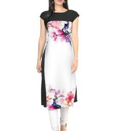 Buy White faux crepe kurti kurtas-and-kurti online