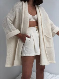 Atelier Delphine Haori Alpaca Sweater Coat / Multiple Colors Available – NA NIN Sweater Coats, Sweater Outfits, Cream Sweater, Mode Outfits, Fashion Outfits, Looks Style, My Style, Neutral, Summer Sweaters