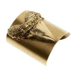 SHARK TOOTH CUFF - TALL - ANTIQUE GOLD WITH BRASS OX. Luv Aj. $99.