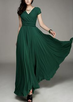 Maxi dress Chiffon dress Green dress V neck Large by Fashiondress1
