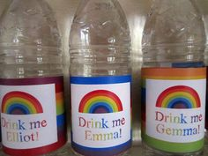 Rainbow party drink labels