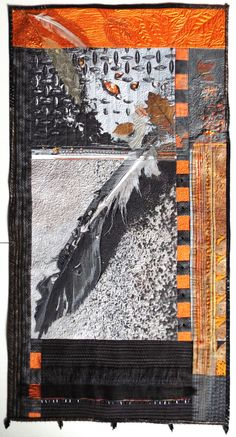 original photo and fiber art by jill Kerttula. This fiber art, or Art Quilt, includes horse hair, dryer lint, leaves, feathers and hand and Machine stitching.
