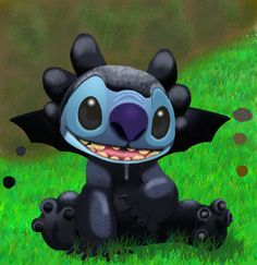 stitch as toothless by stitch-blue.deviantart.com