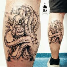By Rodrigo Tas | Brazil | #Blackwork #Dotwork #Octopus #Tattoo #Kraken
