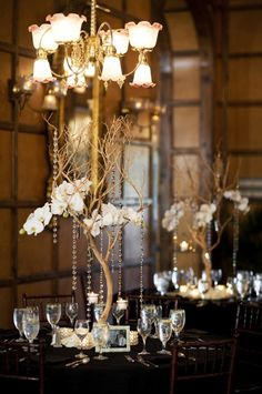 Elegant Crystal Centerpieces: Photo by Justin DeMutiis Photography via Ruffled Crystal Centerpieces, Wedding Centerpieces, Wedding Table, Wedding Blog, Wedding Events, Dream Wedding, Wedding Decorations, Wedding Ideas, Branch Centerpieces