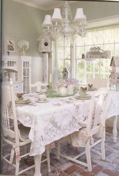 All Things Shabby and Beautiful pale green and white shabby chic dinning room.
