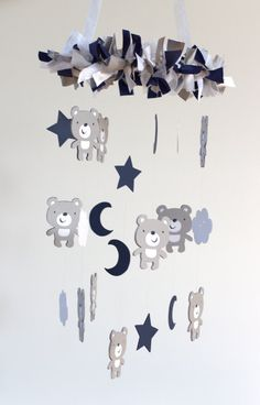 Teddy Bear Nursery Mobile in Navy Blue Gray & by LovebugLullabies