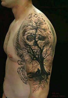 Skull crow tattoo