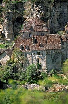 Francia, Lot, Parc Naturel Régional des Causses del Quercy, Rocamadour, detalle de Quercy Casa en pueblo bajo