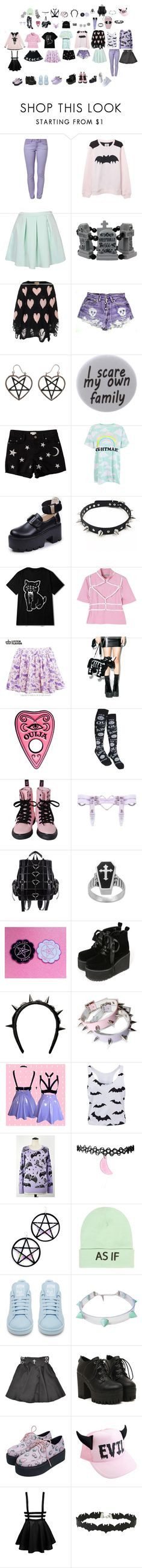 """pastel goth stuff"" by pastel-dream-hime ❤ liked on Polyvore featuring Levi's, Wildfox, Humör, Savannah, Disturbia, Coven, Tressa, Givenchy, Marina Fini and Wet Seal"