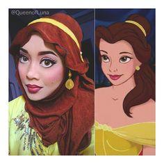 Malaysian makeup artist Saraswati uses her hijab and makeup to turn herself into actual Disney princesses. | Belle