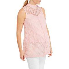 Whoa, Wait Maternity Mock Neck Lace Top, Size: Small, Pink