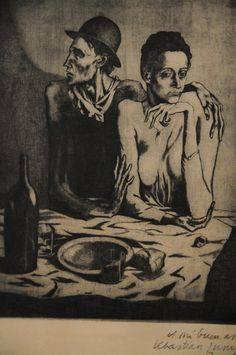 "Etching plate: 18 3/16 x 14 7/8"" (46.2 x 37.8 cm)  The Frugal Repast (Le repas frugal) Pablo Picasso 1904  The Museum of Modern Art - MoMA 11 West 53 Street - New York, NY 10019-5497 www.moma.org"
