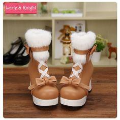 Japanese Harajuku Sweet Lolita Cosplay Thick Heel Platform Princess Boots Lace-up White Rabbit Hair Girls Party Boots