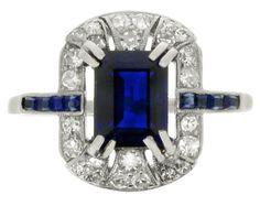 Art Deco sapphire and diamond cluster ring, circa 1930.