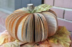 Upcycled Book Pumpkin MADE TO ORDER as featured by whimsysworkshop