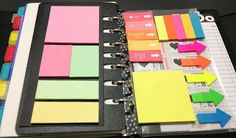 Planner dashboard, post it storage, planner organization. Very colorful. From Craft Room Secrets.