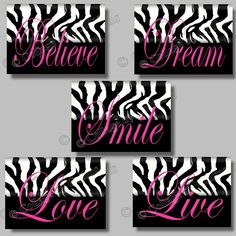 5 PINK Zebra Print SMILE DREAM LIVE LOVE BELIEVE Quote Art Girls Room Wall Decor