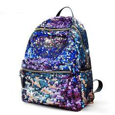 Fashion Shining Sequin Stars Backpack&School Bag-purple