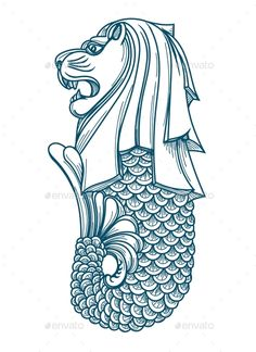 Singapore Merlion Icon by vectortatu Singapore Tattoo, Singapore Art, Singapore Travel, Merlion Singapore, Singapore National Day, Face Line Drawing, Diy Embroidery Patterns, Lion Sketch, City Icon
