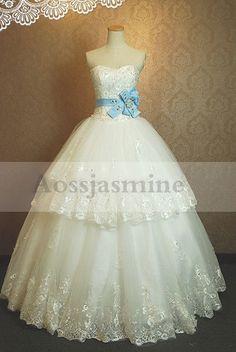 Glamorous strapless ball gown sashes appliques tulle bridal dress