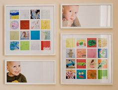 lots of great ideas for saving/displaying your child's artwork--for this pin, take photos of their artwork and create a collage :)