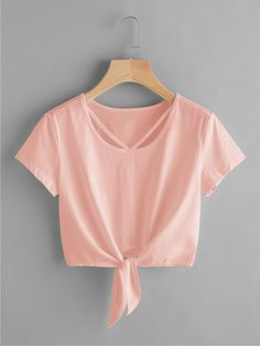 To find out about the V Strap Neck Knot Front Crop Tee at SHEIN IN, part of our latestT-Shirts ready to shop online today! Cute Comfy Outfits, Cute Girl Outfits, Cute Summer Outfits, Stylish Outfits, Cool Outfits, Girls Fashion Clothes, Teen Fashion Outfits, Outfits For Teens, Belly Shirts