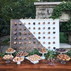 """627 Likes, 28 Comments - A Charming Fête Events (@acharmingfete) on Instagram: """"Congrats Jennifer + Matt! A sneak peek of last night's donut table with donut wall we had custom…"""""""