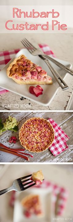 Rhubarb Custard Pie is a decadent dessert perfect for a sweet summer treat. A flaky pie crust is filled with a rich egg custard and rhubarb for a classic recipe you will adore! http://www.thecreativebite.com/rhubarb-custard-pie/?utm_campaign=coschedule&utm_source=pinterest&utm_medium=Danielle%20%7C%20The%20Creative%20Bite&utm_content=Rhubarb%20Custard%20Pie Rubarb Custard Bars, Strawberry Custard Pie Recipe, Easy Strawberry Rhubarb Pie, Rhubarb Rhubarb, Healthy Rhubarb Recipes, Rhubarb Custard Pies, Rhubarb Desserts, Rhubarb Apple Crisp, Rhubarb Pudding Cake
