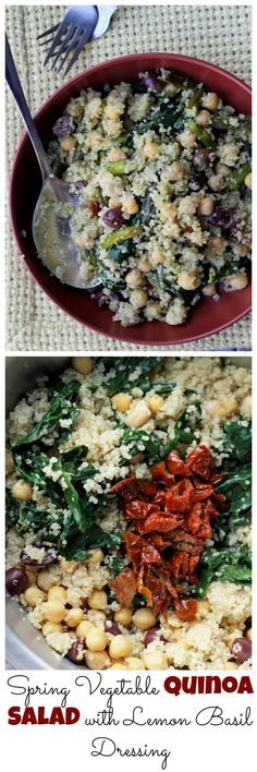 Spring is in the air with this Spring Vegetable Quinoa Salad with Lemon Basil Dressing! With asparagus, sun-dried tomatoes, and a lemon basil dressing it will make you feel like the sun is shining more and more with every bite.