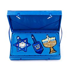 Kurt Adler Noble Gems Glass Hanukkah Ornaments, to Set of 3 Simchat Torah, Jewish Hanukkah, Different Holidays, Rosh Hashanah, Menorah, Holiday Wishes, Tree Toppers, Glass Ornaments, Christmas Decorations