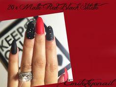 20 Matte Hand Painted Full Cover False Nails Stiletto Black Red Rhinestones+Glue